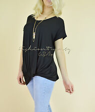 NEW Black TWISTED KNOT Long Loose Tunic Relaxed Casual Knit Womens T-shirt Top S