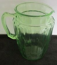VINTAGE GREEN DEPRESSION GLASS VERTICAL RIBBED WATER MILK PITCHER 8 1/2T X 7 1/2