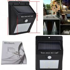 6 LED Solar Powered PIR Sensor Wall Light Outdoor Waterproof Garden Lamp1W 80Lum