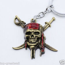 New Pirates of the Caribbean Metal Keychain Keyring Gold Color
