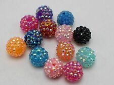 20 Mixed Colour Acrylic Rhinestone DISCO Ball Beads 16mm for Shamballa Bracelet