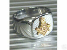 925 Sterling Silver Two Tone No Stone Free Mason Masonic Men Ring Size 11