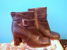 dark brown leather buckle block heel short ankle boot BALLY zip up