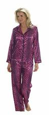 Ladies Pink Leopard Print Size 8 Satin PJs Pyjamas Long Sleeve