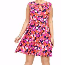 London Times Matte Jersey Fit And Flare Pink N Blue A Line Dress Size 20W