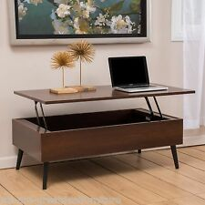 Living Room Furniture Mid-Century Mahogany Wood Lift Top Storage Coffee Table