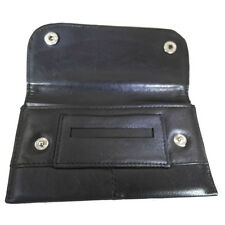 Tobacco Pouch Soft Black Leather Lined Rizla Rolling Paper Pocket Slot Roll Ups