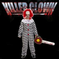 Adult KILLER CLOWN Halloween Fancy Dress Costume & Inflatable Chainsaw (H12)