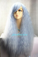 New Lolita Light blue Long Curly Cosplay Anime Hair Full Wigs + wig cap