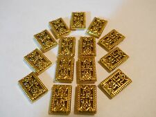 12 GOLD PLATED TIBETAN BALI 2 HOLE SLIDER SPACER BEADS BAR
