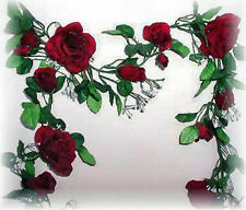 BURGUNDY WINE Rose Garland ~ Silk Wedding Flowers Arch Gazebo Decorations Vines