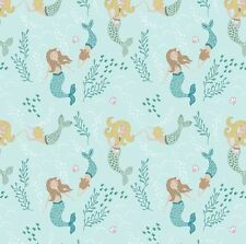 patchwork fabric Lewis and Irene Tales of the Sea Mermaids light blue A138.1 FQ