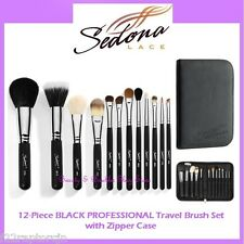 NEW Sedona Lace 12-Piece TRAVEL BLACK PROFESSIONAL Brush Set FREE SHIPPING