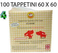 100 TAPPETINI ASSORBENTI per cane 60 x 60 CLASSIC traversine pannolini cani
