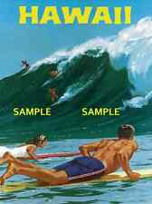 "Hawaii - Big Wave Surfing Travel Poster  - 11"" X 17"""