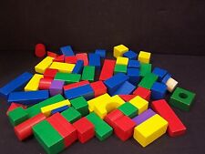 # 63 PCS WOODEN BUILDING BLOCKS WOOD COLOR SHAPES toddler daycare toy