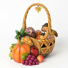 Jim Shore Autumn Cornucopia Holiday Basket w/4 Miniature Figurines  ~ 4031690