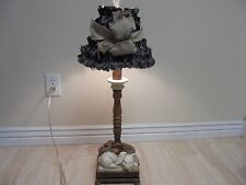 """28"""" Adorable HEAVY Table Lamp With Sleeping Rabbit trimmed with Black Shade"""