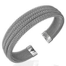 Stainless Steel Silver Tone Multi-Row Mesh Womens Open End Cuff Bangle Bracelet