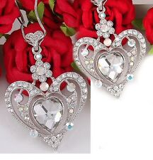 Valentine's Day Love White Clear Heart Necklace Crystal Stone Chain Lady Pendant