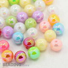 100pcs Colorful Round AB Color Acrylic Ball Beads for Kid Jewellery Making 10mm