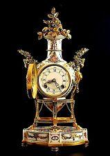 Vtg Ltd Edition Porcelain Ormolu Marie Antoinette 8 Day Mantel Clock 24kt Gold