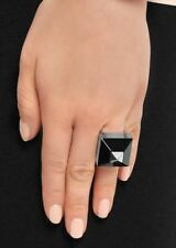 $400 Authentic Givenchy Pyramid Silver & Black Plexiglass Cocktail Ring Sz 7.5-8