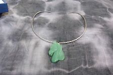 Carved Aventurine Horse Head Pendant w/ Stainless Steel Neck Wire  Beauty