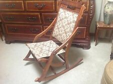 Unique Incredible Antique Victorian Folding Rocker Sewing, Nursing Chair.