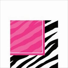 ZEBRA STRIPES Pink and Black SMALL NAPKINS (16) ~ Birthday Party Supplies Animal