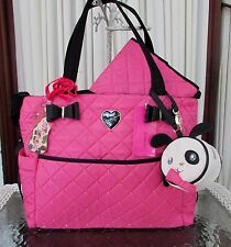 Betsey Johnson Bow Houdini Diamond Quilt Diaper Bag Tote Weekender Pink 3 pc NWT