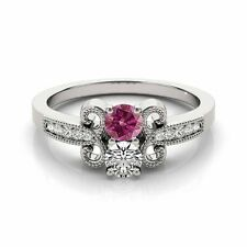 1.097  Carat Pink&White VS2-SI1 2 Diamond Solitaire Engagement Ring 14k WG
