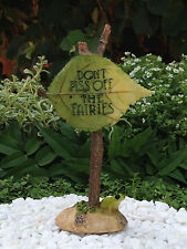 "Miniature Dollhouse FAIRY GARDEN Accessories ~ ""Don't Piss Off the Fairies"" Sign"