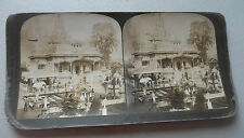 STEREOVIEW PHOTO INDIA  JAIN TEMPLE CALCUTTA  FINEST IN THE WORLD 1907