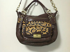 Coach Kristin Pinnacle Haircalf Ocelot Leather Satchel Purse F19956 Msrp $1,200