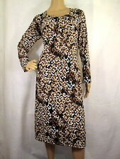 TRAVELSMITH Black, Brown & White Floral Long Sleeve Jersey Dress, Size Medium
