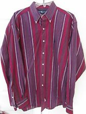 Polo Ralph Lauren Mens Long Sleeve Button Front Shirt Large Burgundy Stripes EUC