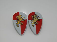 Lego Minifigure Lot Of 2 Shield Ovoid with Gold Lion on Red and White Quarters