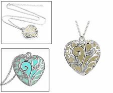 Glow in the Dark (Aqua Blue) Heart Pendant with Necklace. Silver Plated.