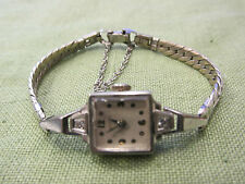 Antique MARVIN 14k White Gold Diamonds 17 Jewels Ladies Wristwatch Watch Running