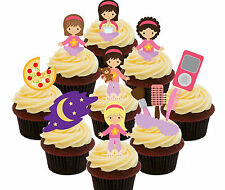 Slumber Party / Sleepover Edible Cup Cake Toppers - 36 Fairy Decorations Girls