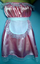 pink satin dress + apron adult baby fancy dress sissy french maid cosplay 36-52