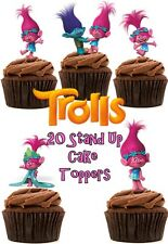 Poppy Trolls Edible Wafer Stand up Cupcake / Cake toppers x 20 (Thick quality)