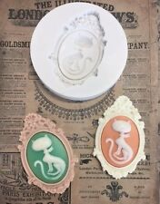 Silicon mold vintage Cat Cameo foodsafe mould resin fimo embellishment soap