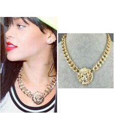 Celebrity Style Lion Head Chunky Chain Necklace Bold Statement Choker