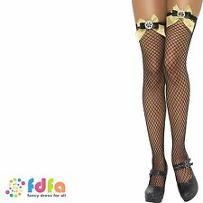 LATTICE NET BLACK STOCKINGS WITH BOWS & COGS ladies womens fancy dress hosiery