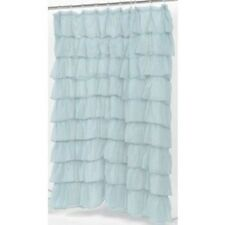 """Carmen"" Blue ruffled tier 100% polyester fabric shower curtain, size 70""x72"""