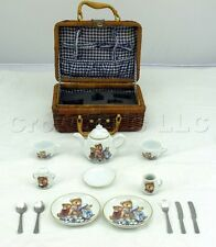 Miniature Collectible Bear Henry and Friends Porcelain Tea Set in Wicker Basket