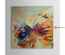 Stunning BUTTERFLY Oil Painting FRAMED Canvas Abstract MODERN Wall Art Decor