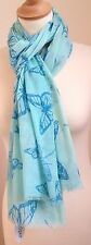 NEW 100% COTTON WOMEN'S BLUE DRAGONFLY & BUTTERFLY PRINT SCARF